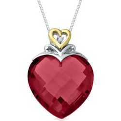 Heart-Shaped Lab-Created Ruby Pendant with Diamond Accents