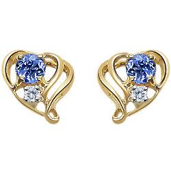 Tanzanite & Diamond Open Heart Earring