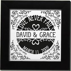 Personalized Love Never Fails Framed Scissors Print