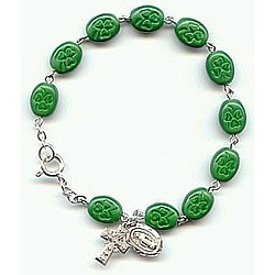 Oval Shamrock Beads Rosary Bracelet