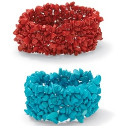 Turquoise and Coral Nugget Stretch Bracelet Set