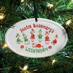 Personalized Red Ribbon Little Helpers Ornament