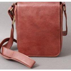 Men S Italian Leather Vertical Mini Messenger Bag