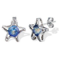 Blue Sea Mist Topaz Starfish Earrings in Sterling Silver