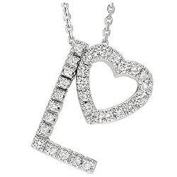 14k Diamond Combo Love Heart Charm Necklace