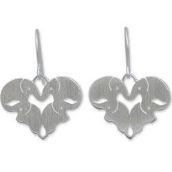 Sterling Silver Sweetheart Elephants Earrings