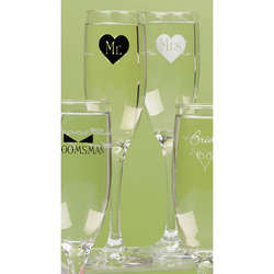 Mr. and Mrs. Heart Champagne Flutes