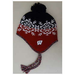 UW Badgers Womens Snowflake Tassel Knit Hat