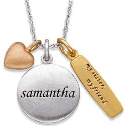 Sterling Silver Tri-Color Sisters Charm and Name Necklace