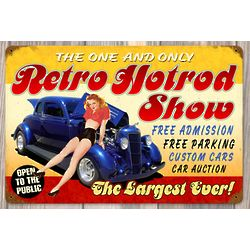 Retro Hot Rod Show Metal Sign