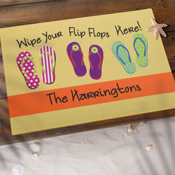 Wipe Your Flip Flops Here Personalized Doormat