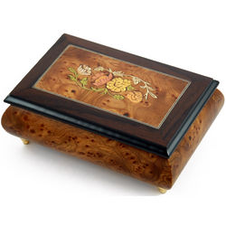Floral Theme 22 Note Wood Inlay Music Jewelry Box