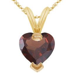 Heart Garnet Pendant in 14 Karat Yellow Gold