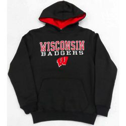 Youth's Wisconsin Badgers Hoodie in Charcoal Gray
