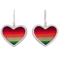 Rainbow Love Sterling Silver & Wool Blend Dangle Hearat Earrings