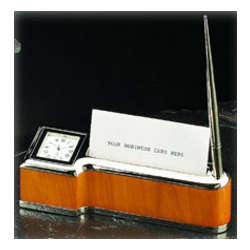 Bey Berk Wood & Silver Clock, Pen And Card Holder