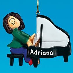 Personalized Female Piano Player Ornament