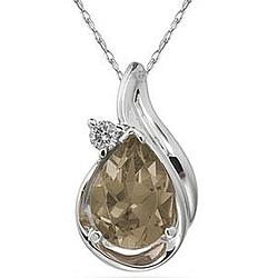 Pear Shaped Smokey Quartz Raindrop Pendant in White Gold