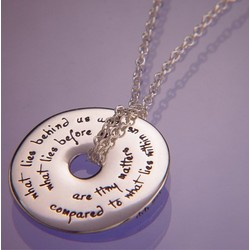 'What Lies Behind' Emerson Quote Pendant Necklace