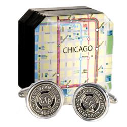 Authentic Chicago Transit Token Cufflink