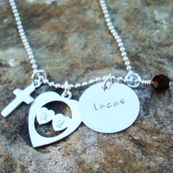 Charmed Family Blessings Hand Stamped Sterling Silver Necklace