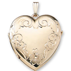 Carved Family Four Fold Signet 14K Yellow Gold Heart Locket