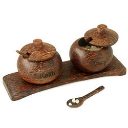 Personalized Hand-Carved Salt and Pepper Pot Server Set