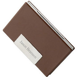 Brown Leather Personalized Business Card Case