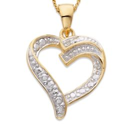 14K Gold Over Sterling Genuine Diamond Heart Pendant