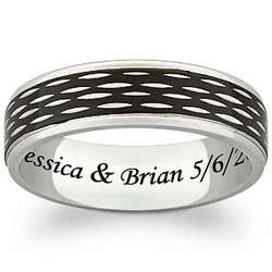 Men's Titanium Two-Tone Textured Engraved Band