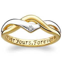 Sterling Silver Two-Tone Promise Ring with Diamond Accent