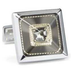 Crystal Center Square Cufflinks