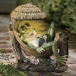 Solar Frog in Hammock LED Garden Statue