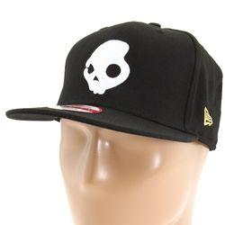 White Skull Black Snapback Cap