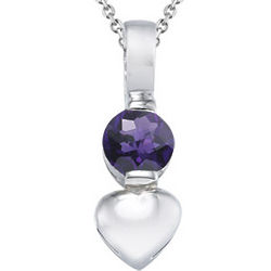 Round Amethyst Solitaire Pendant in Silver