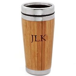 Personalized Bamboo and Steel Travel Mug