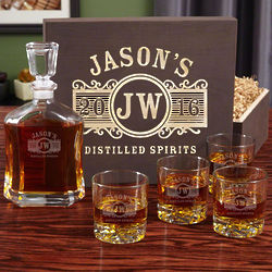 Marquee Personalized Decanter with Wood Box and 4 Glasses
