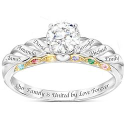 Family Birthstone and Topaz Personalized Sterling Silver Ring