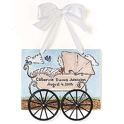 Personalized Girl Pram Birth Plaque