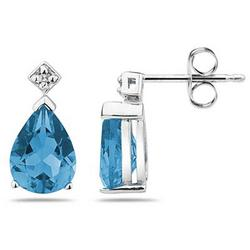 Pear Shaped Blue Toapz & Diamond Earrings in White Gold