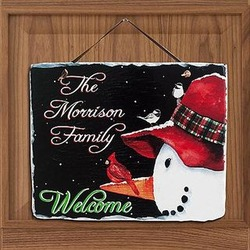 Personalized Snowman and Cardinal Slate