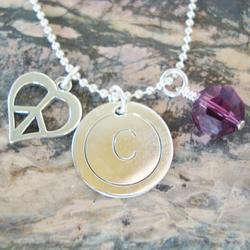 Initially Charmed Hand Stamped Necklace in Sterling Silver