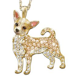 Chihuahua Pendant with Clear and Brown Swarovski Crystals