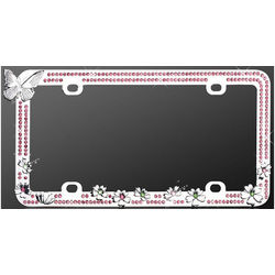 Chrome Butterfly Pink Diamond License Plate Frame