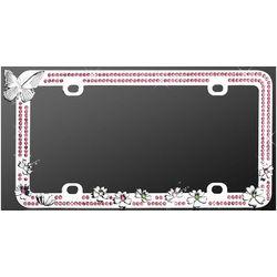 Chrome Butterfly Pink Diamond License Plate Frame