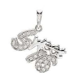Sweet Sixteen Diamond and 14k White Gold Bracelet Charm Pendant