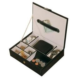 Men's Black Metro Faux Leather Jewelry Valet and Accessories Box