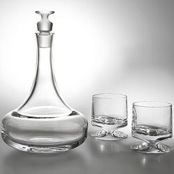 Crystal Groove Decanter with Glasses