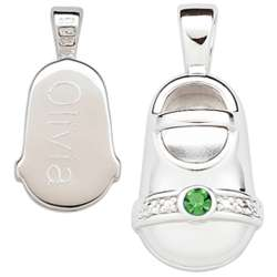 Sterling Silver August Engraved Birthstone Bootie Charm