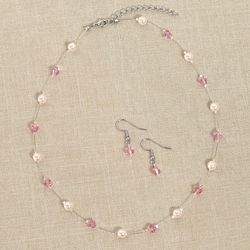 Pearl and Crystal Necklace and Earring Jewelry Set